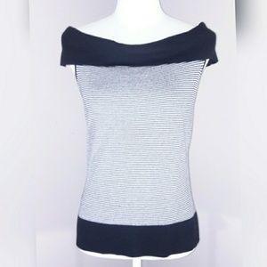 Ann Taylor LOFT B/W striped sleeveless blouse